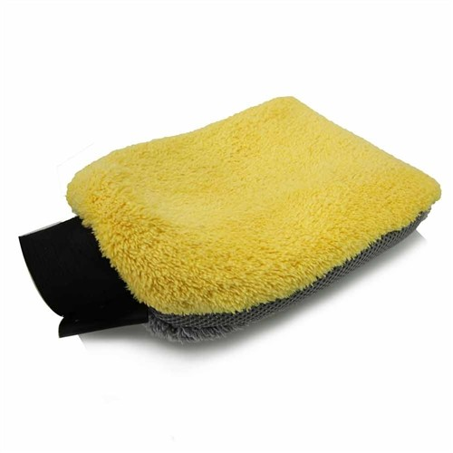 YELLOW/GRAY WATERPROOF 4 IN 1 MICROFIBER PREMIUM WASH MITT